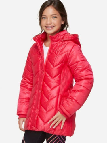 Justice Girls/' Quilted Side Long Puffer Coat Jacket Red Size 12//14 NEW!