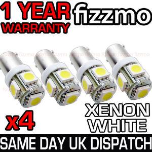 4x 5 SMD LED XENON WHITE SIDE LIGHT BULB 233 T4W BA9S CAP BAYONET 360 DEG UK