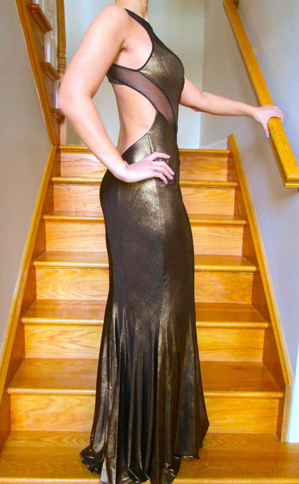 NEW Faviana 7182 evening PROM Dress Gown gold Foil Jersey Jersey Jersey Sizes 0-6 7ffd43