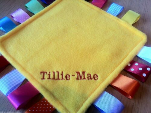 PERSONALISED TAGGY BLANKET//COMFORTER//GIFT IN YELLOW ***many options***