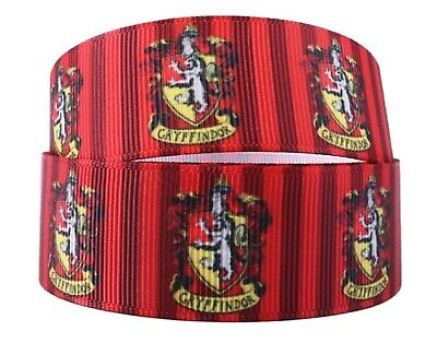 """Harry Potter House Crests 1/"""" Wide Repeat Ribbon Sold in Yard Lots USA Seller"""