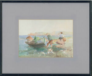 Framed-Mid-20th-Century-Watercolour-Going-Fishing-I