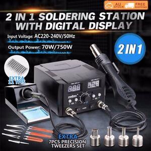 2 in 1 Soldering Iron Hot Air Gun Desoldering Rework Station Digital Solder 750W