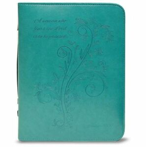 A-Woman-Who-Fears-the-Lord-is-To-Be-Praised-Bible-Cover-Teal-X-Large