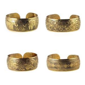 UK/_ Women Vintage Ethnic Open Jewelry Tibetan Silver Bangle Wide Cuff Bracelet C