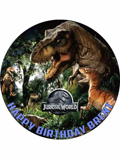Jurassic Park World Dinosaurs Personalised 75 Birthday Cake Topper On Icing D2