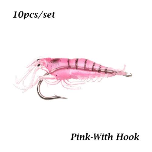 Biomimetic Soft Prawn Lure Sea Fishing Hook Worm Silicone Shrimp Fake Bait