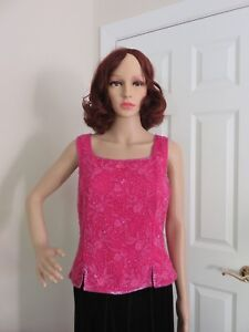 ADRIANNA-PAPELL-LINED-HOT-PINK-BEADED-EVENING-TOP-SIZE-M-IN-100-SILK