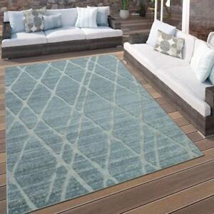 Outdoor-Rugs-Light-Blue-Grey-Geometric-Pattern-Carpet-Garden-Mats-Small-Large-XL