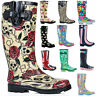 Ladies Flat Knee High Rubber Festival Wellies Waterproof Rain Wellington Boots