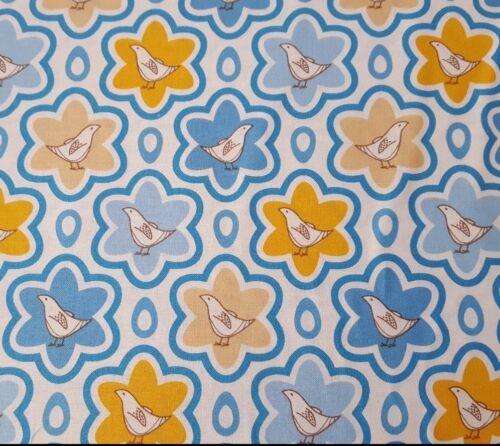 Pear Tree BTY Thomas Knauer Andover Fabrics Blue Pumpkin Ecru Bird Flower
