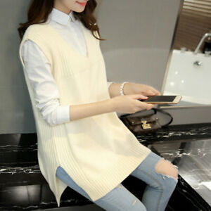 Women-Knitted-Vest-Waistcoat-Jumper-Sweater-Casual-Tops-V-Neck-Pullover-White