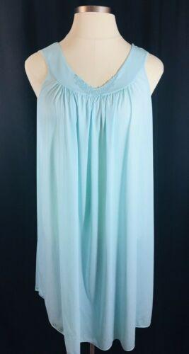 Miss Elaine Woman's Seafoam Turquoise Sleeveless Nightgown 1X 2X 3X Silky Nylon
