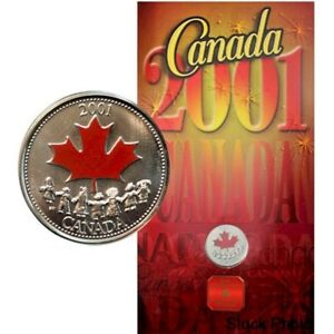 2001P-Canada-Day-Spirit-Coloured-25-Cents-Free-Shipping