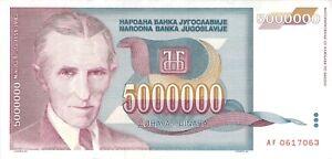 YUGOSLAVIA-5-Million-5000000-Dinara-1993-P-132-Free-to-Combine-Low-Shipping