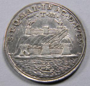 SPAIN-MALAGA-Charles-IV-1789-Silver-Proclamation-medal-scarce