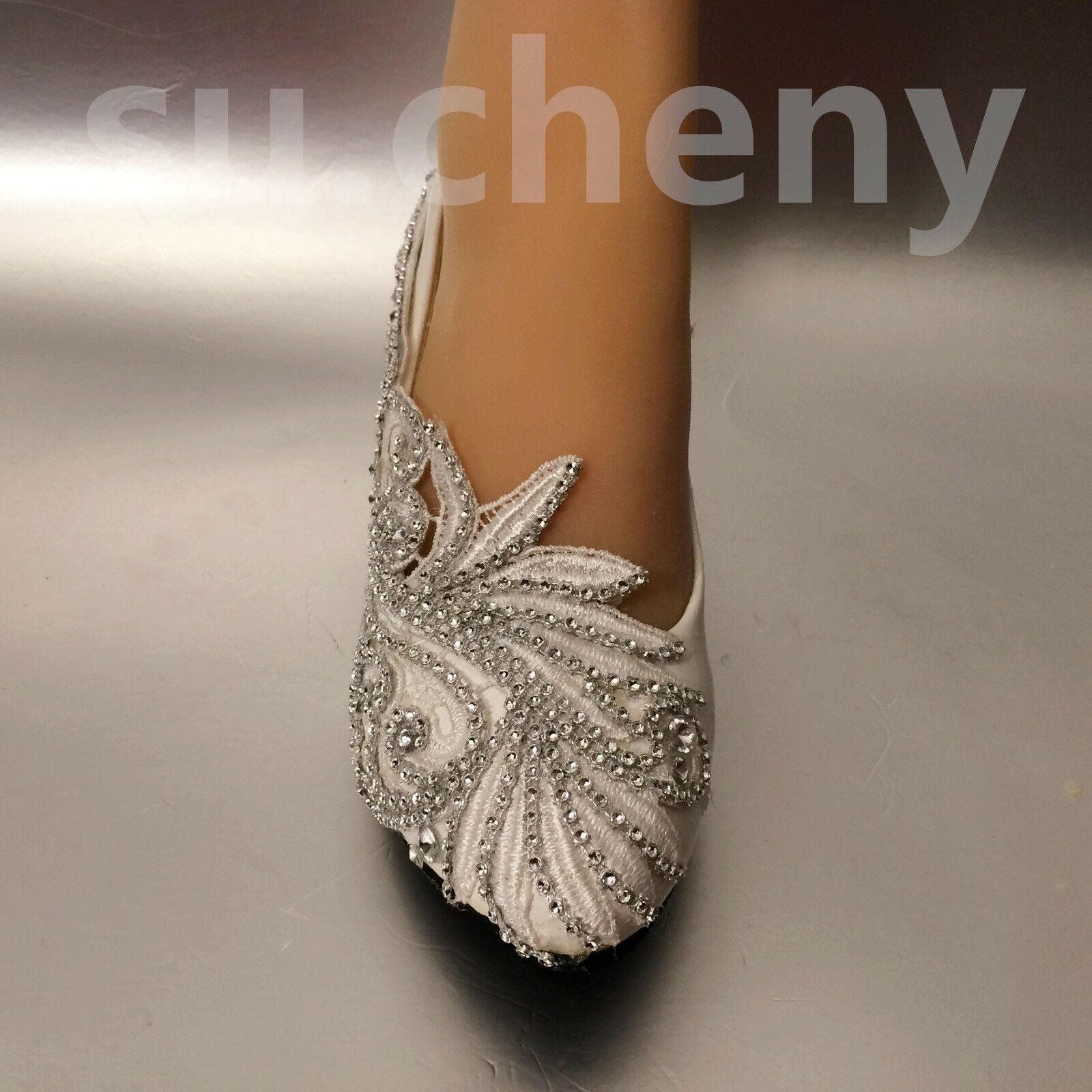 Su.cheny Weiß Wedge low high heels Lace crystal Weiß Su.cheny ivory pump Wedding Bridal schuhe 3e3f80