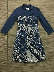 Anthropologie-Holding-Horses-Blue-Bandana-Shirt-Dress-Sz-6-Country-Girl-Casual