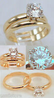 18kt Yellow Gp Wedding Cz Engagement Rings Band Set