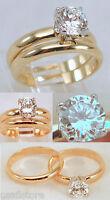 18kt Yellow Gp Wedding Cz Engagement Rings Band Set