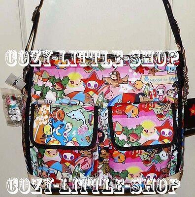 NWT LeSportsac TOKIDOKI SPIAGGIA *CAMPEGGIO* Messenger Bag~Sandy+Beach~A+++PRINT