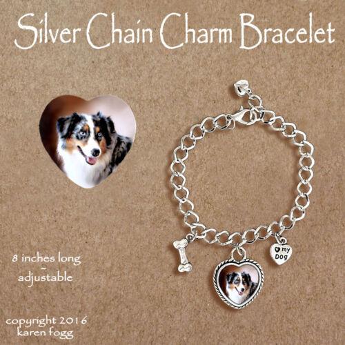 AUSTRALIAN SHEPARD DOG CHARM BRACELET SILVER CHAIN /& HEART