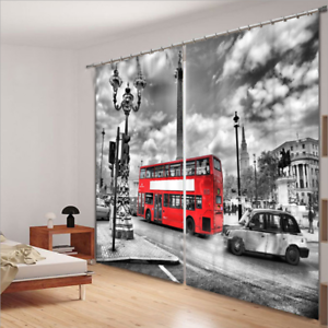 2 Panels London/'s red Bus Room Room Darkening Insulated Blockout Window Curtain