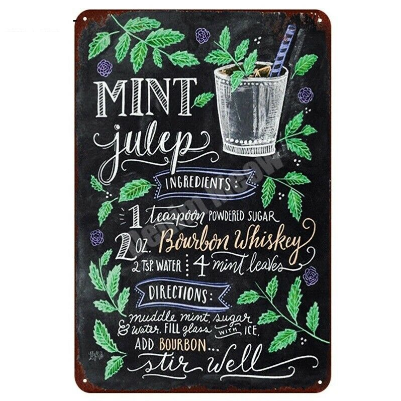 Retro metal Plaque Pub Bar Kitchen Shabby Chic Gift Mint Julep cocktail Recipe