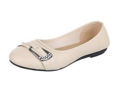Damenschuhe Schuhe Ballerina Schnalle DEKO HALBSCHUHE beige Lederop. [BJ 23]