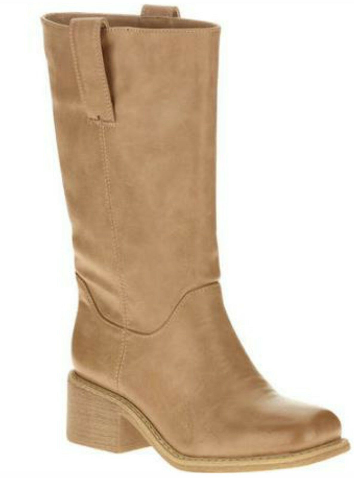 Womens Shoe Size 8 - 9 Natural Tan Boots Tall Mid Calf Western Boot Heel Shoes