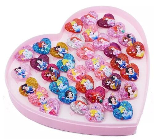Party Bag Fillers.Birthday 10 Heart Shaped Childs Glitter Rings Disney Princess