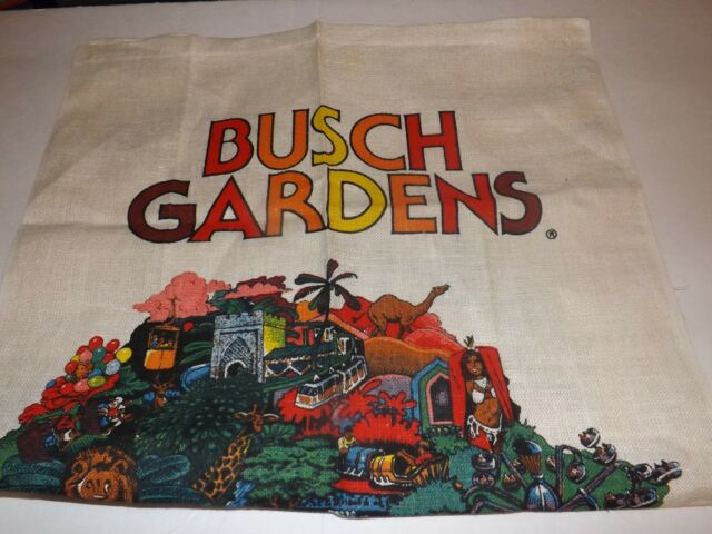 Vintage Busch Gardens Tampa Florida Burlap Towel Banner Flag Theme Park Souvenir