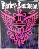 Harley-davidson Rising Cross Super Soft Plush Raschel Warm Blanket 76x94 Queen