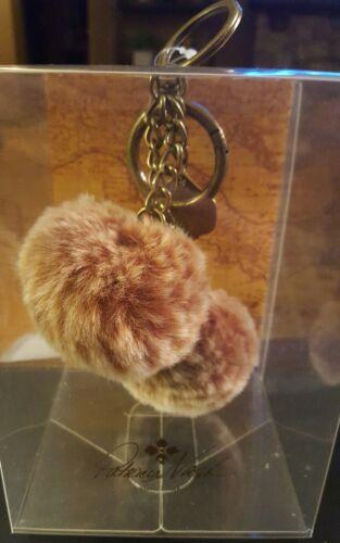 NWT $39 PATRICIA NASH Tan SHERPA FUR Pom Pom Key Ring Chain w// Charm
