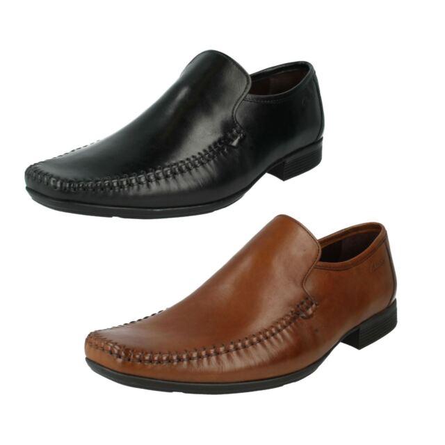 MEN CLARKS SLIP ON SMART LEATHER SHOES IN BLACK & TAN STYLE FERRO STEP