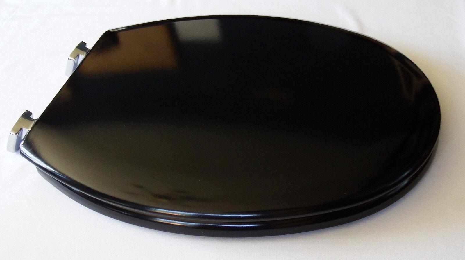 Bemis 4100 CL New York soft close en bois siège de toilette Noir & Chrome Charnière