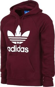 NEW-Adidas-Originals-Men-039-s-Trefoil-HOODIE-Hooded-Sweatshirt-Jumper-Maroon-White