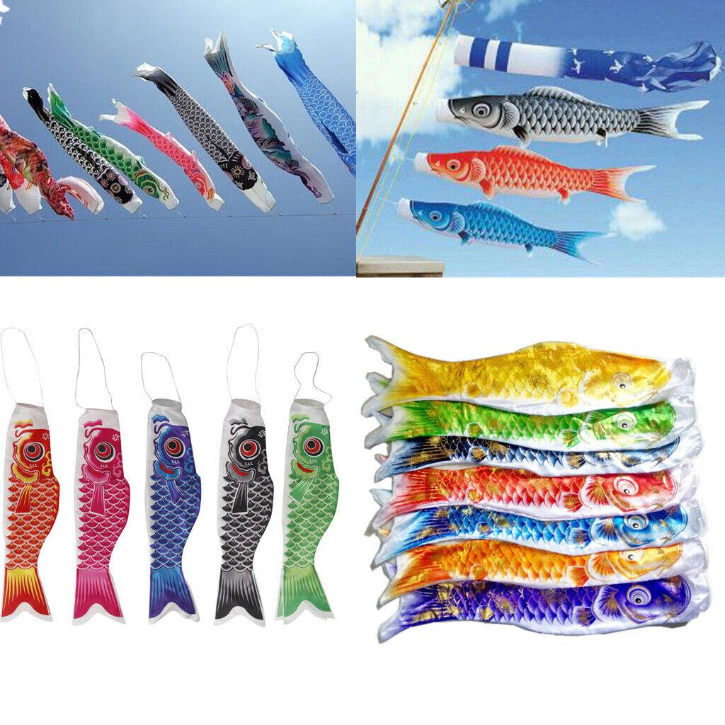 40-110cm Length Koinobori Japanese Satin Carp Windsocks Colorful Fish Flag Decor