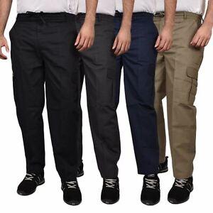 Para-Hombre-De-Carga-Combate-Pantalones-De-Trabajo-Bolsillos-Patrulla-Tactico-Pro-Algodon-Pantalones