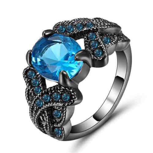 Women/'s Oval Blue Aquamarine Wedding Ring Black Rhodium Plated Size 9