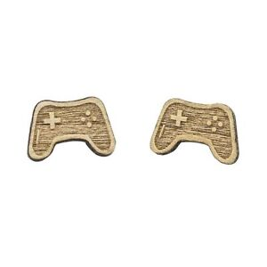 Playstation-Controller-Mini-Wood-Earrings-Retro-Geek-Video-Game-Jewelry