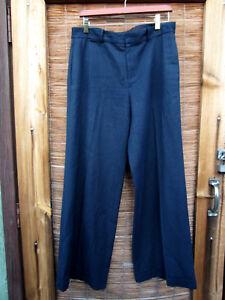 Ralph-Lauren-Sz-10-Women-s-Blue-Dress-Pants-Navy-Flat-Trouser-Cuff-Linen-BT