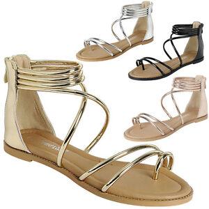 f917ffe7751c New Women Criss Cross Ankle Strap Cuff Gladiator Flat Sandal Shoes ...