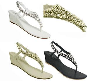 images détaillées nouvelle apparence Bons prix Détails sur S345 - Femmes Diamant & Perle Entre-Doigt Fête Compensé  Sandales Talon Haut - UK