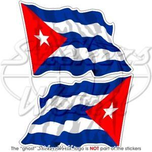 CUBAN-Flying-Flag-CUBA-Bumper-Stickers-75mm-3-034-x2