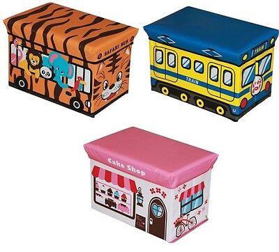 Kids Children Storage Seat Stool Toy Books Box Chest Train Fire Engine Bus NEW