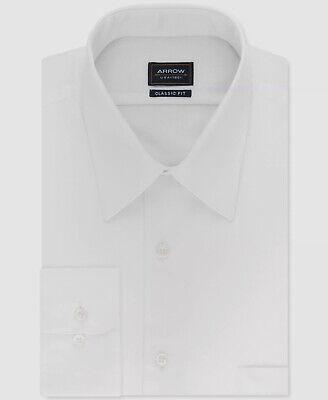 $95 Alfani Men Fitted White Blue Stripe Long-Sleeve Dress Shirt 15-15.5 34//35 M