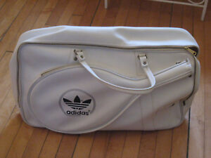 25a2ae85612 Vintage 70s 80s Adidas White Tennis Gym Bag Large Duffle Deadstock ...