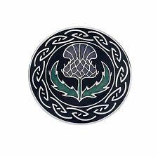 Celtic Lands Large Round Black Purple Enamel Thistle Flower Brooch in Gift Box
