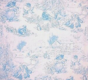 1 Yard Htf 07 Beatrix Potter Peter Rabbit Blue Toile White